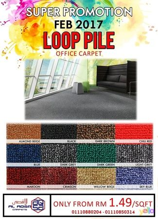LOOP PILE CARPET AT CHEAPEST PROMOTION PRICE   FOR BEST CARPET FOR YOUR  OFFICE