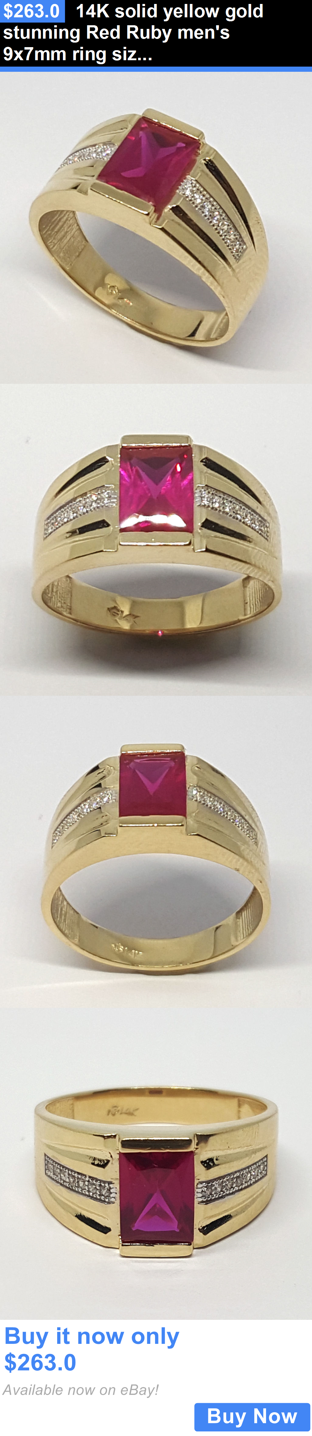 Men Jewelry 14K Solid Yellow Gold Stunning Red Ruby Mens 9X7mm