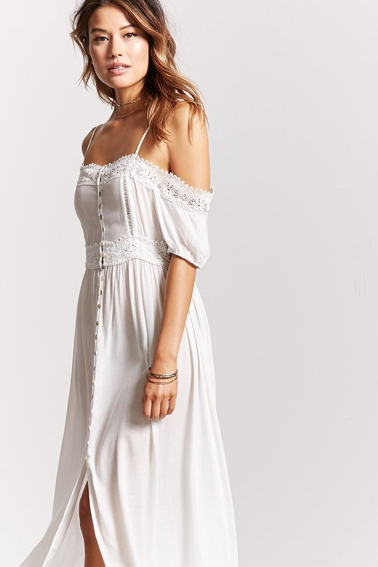 707cf7f95357e Open-Shoulder Maxi Dress