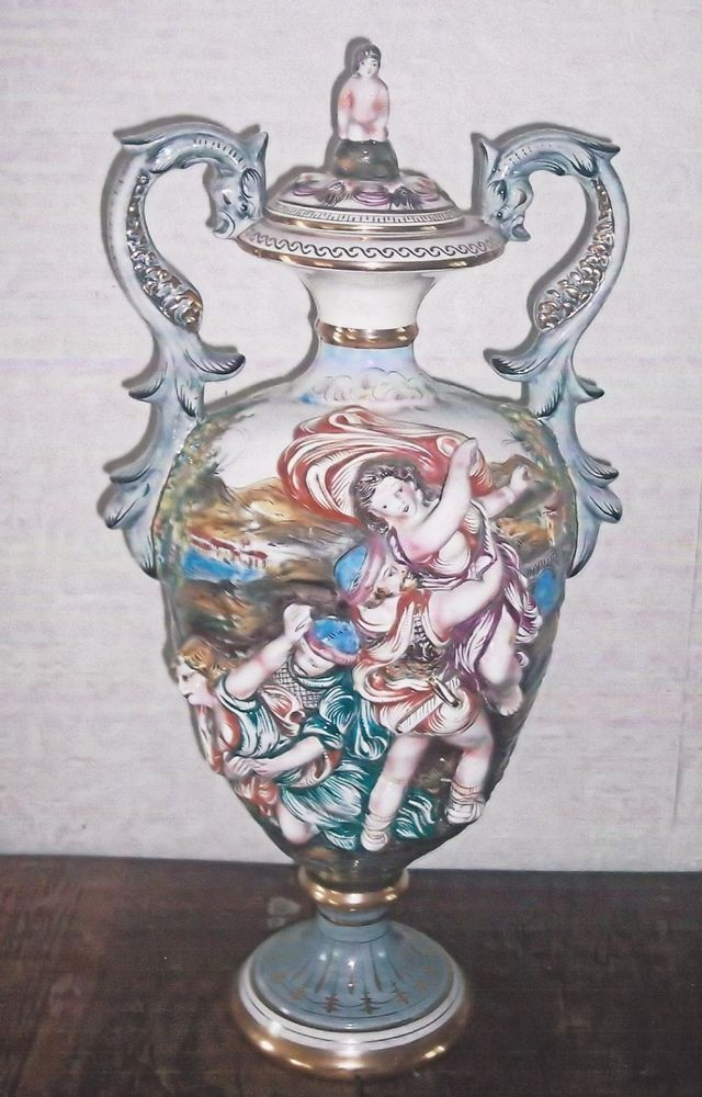 Rare Vintage Capodimonte Urn Marked Crown C Made In Italy