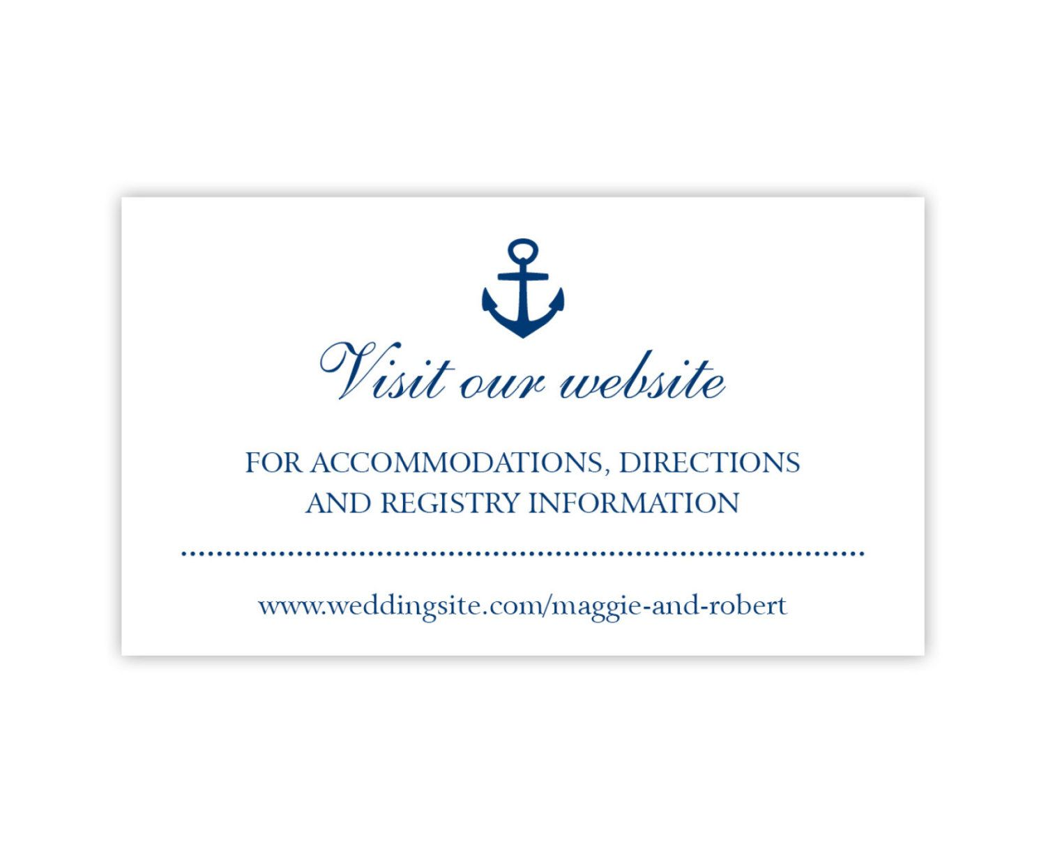 Wedding Website Cards Enclosure Hashtag Or Gift Registry Printed White With Navy Anchor 20 Pieces Per Order