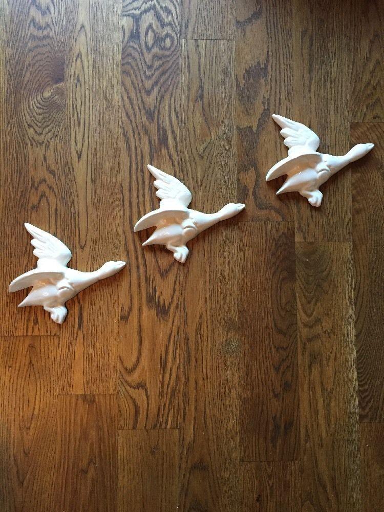 Ceramic White Flying Ducks Wall Hanging Andrew Tanner Mirror