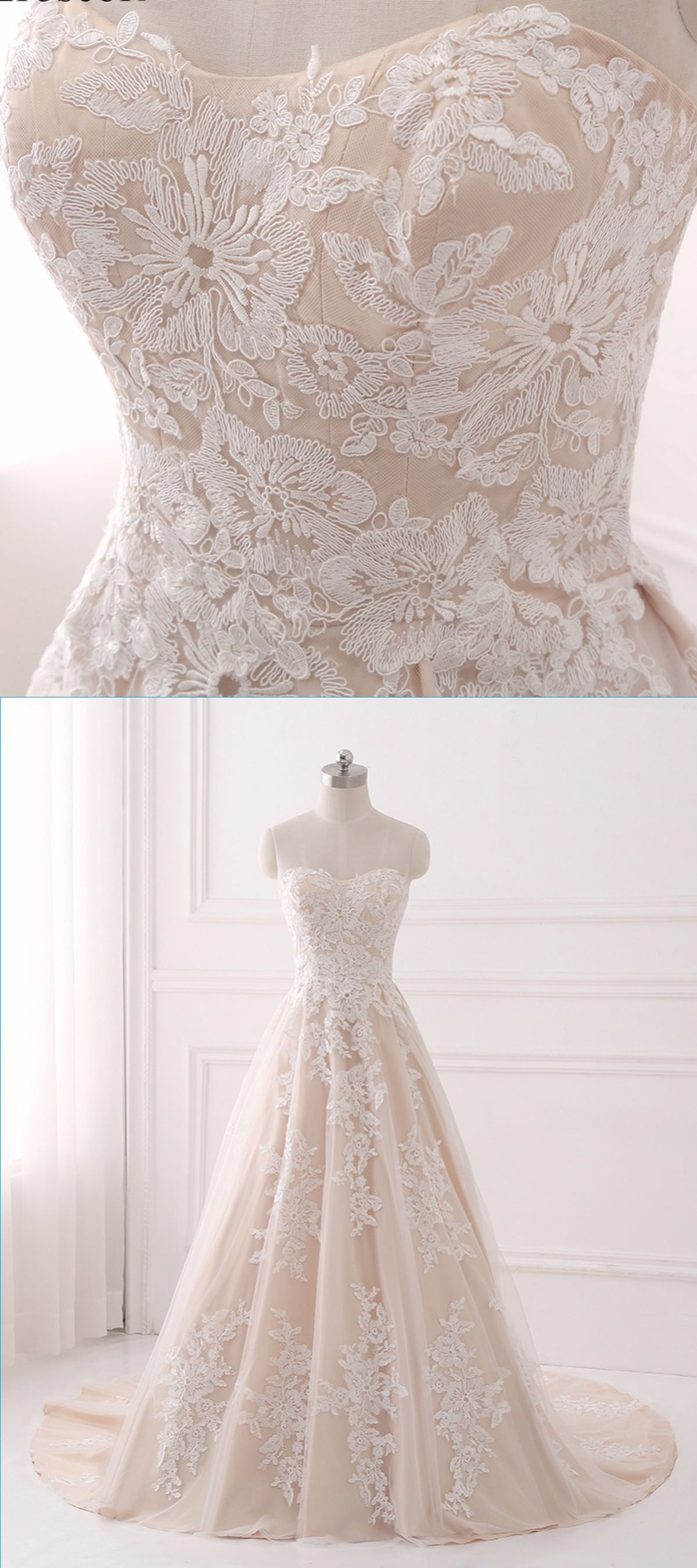 Sweetheart light champagne tulle aline long train prom dress with