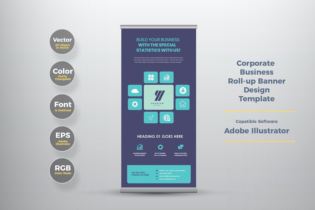 Business Rollup Banner Design In 2020 Rollup Banner Design Rollup Banner Banner Design Layout