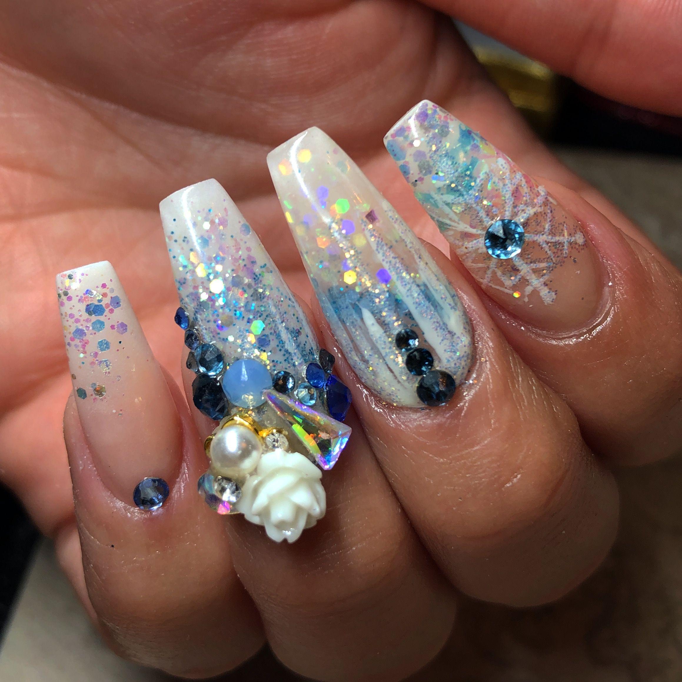 Frozen Acrylic Nails Nails Acrylic Nails Beauty