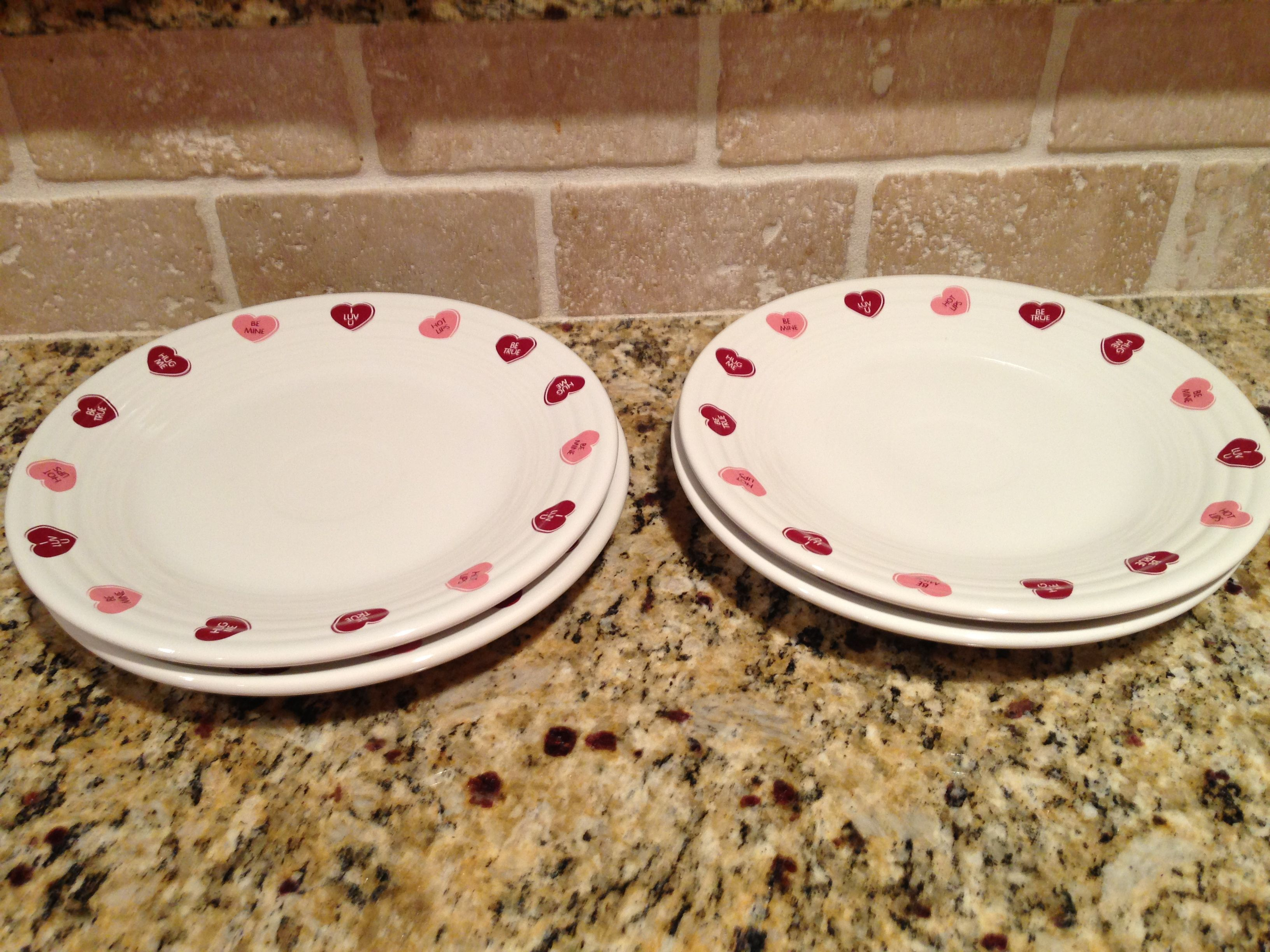 Our Valentine Hearts Fiesta luncheon plates! Dishes in