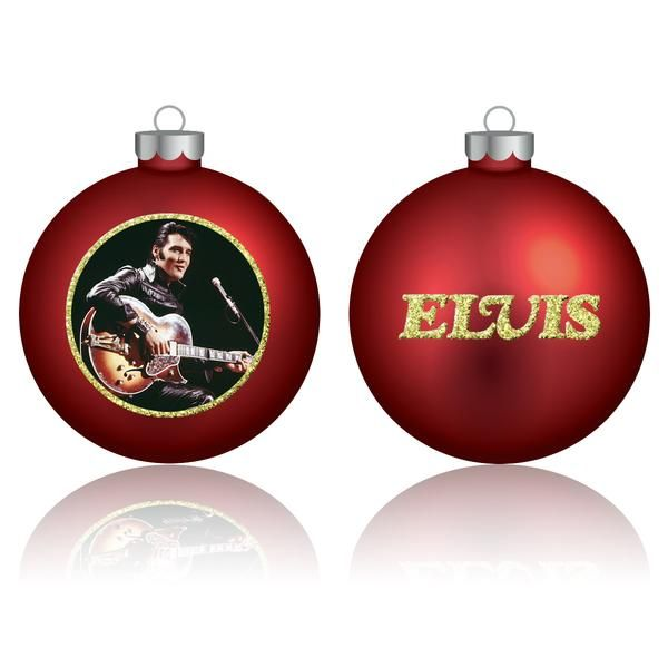 elvis christmas ornaments are an elvis fan must have the all new elvis 68 comeback special red ball ornament features a black leather concert image of