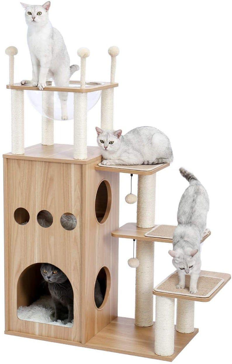 Modern Cat Tree Tower Cat Sky Castle With 2 Cozy Condos Etsy Modern Cat Tree Luxury Cat Tree Wooden Cat Tree