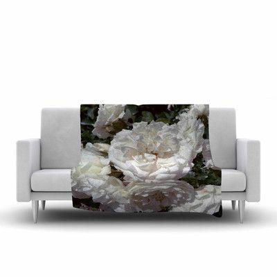 "East Urban Home Flores Blancas Fleece Throw Blanket Size: 80"" L x 60"" W"