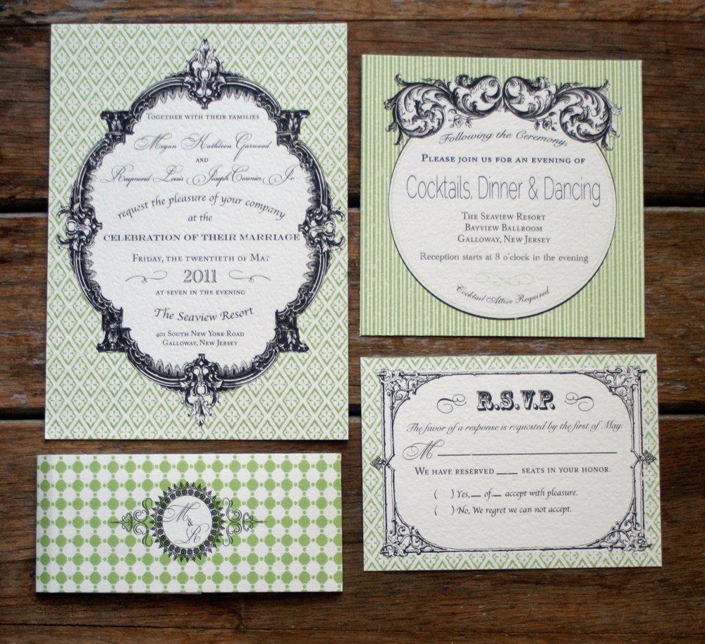 French Vintage Wedding Invitations: Modern Vintage Wedding Invitation, French Baroque Wedding