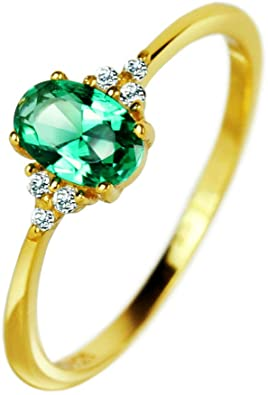 Xiaomei 10k Yellow Gold Vintage Style Genuine Emerald and Diamond Ring Size 6-10