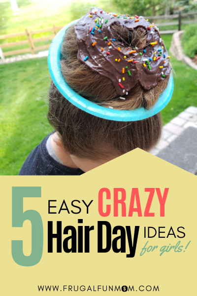 5 Easy Crazy Hair Day Ideas for Girls - Any Mom Can Do! | Frugal Fun Mom #crazyhairdayatschoolforgirlseasy 5 Easy Crazy Hair Day Ideas for Girls - Any Mom Can Do! | Frugal Fun Mom #crazyhairdayatschoolforgirlseasy