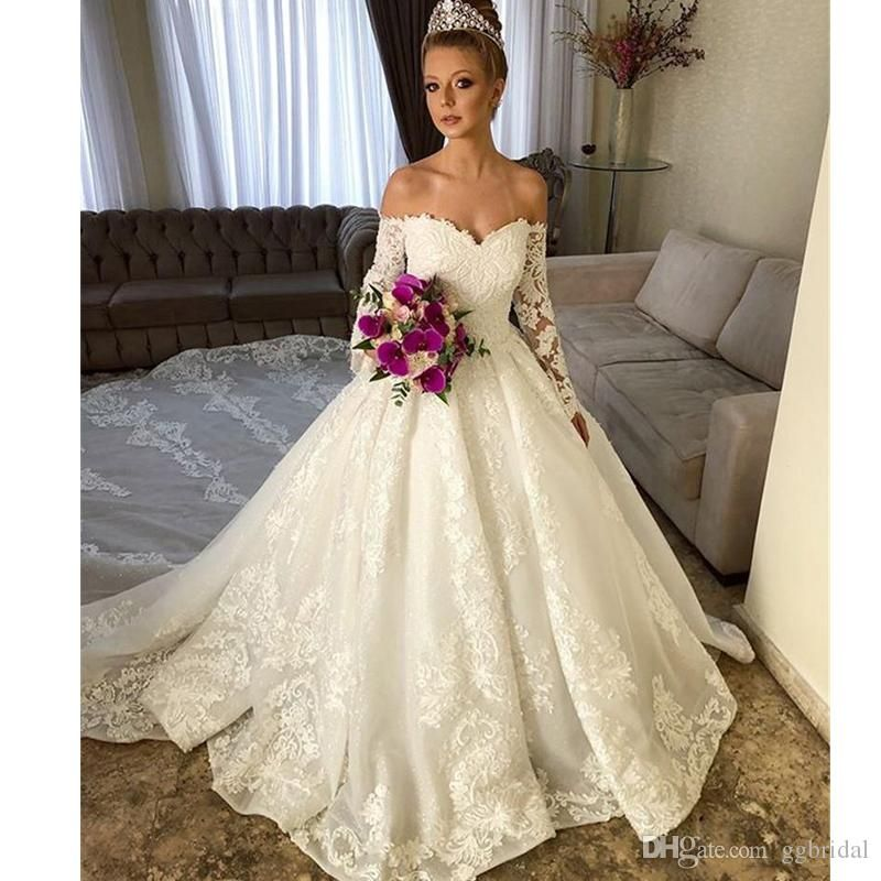 2019 Dubai Arabic Wedding Dresses Lace Appliques Off: Vintage 2019 A-line Wedding Dresses Lace Appliques Elegant