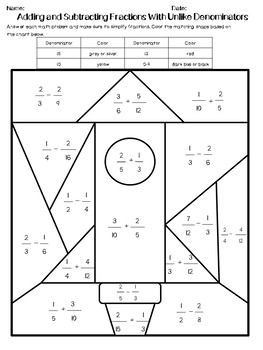Adding And Subtracting Fractions With Unlike Denominators Edition 1