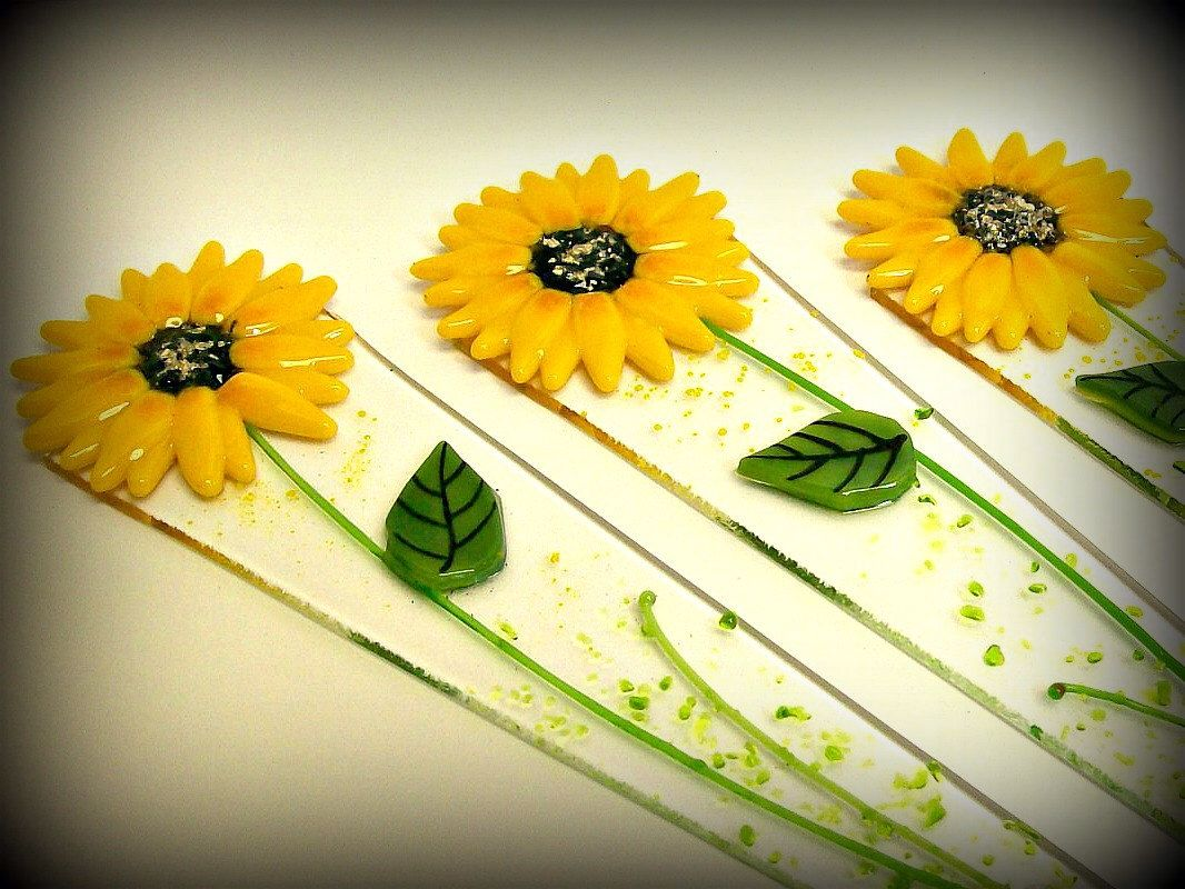 Fused Glass Yard Art Sunflower