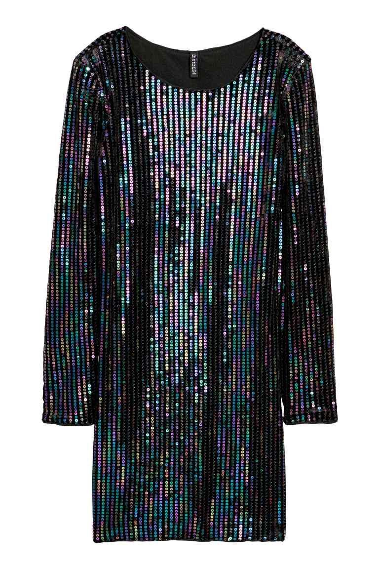 53a2bbe45a4 Велюровое платье с пайетками - Черный Разноцветный - Женщины