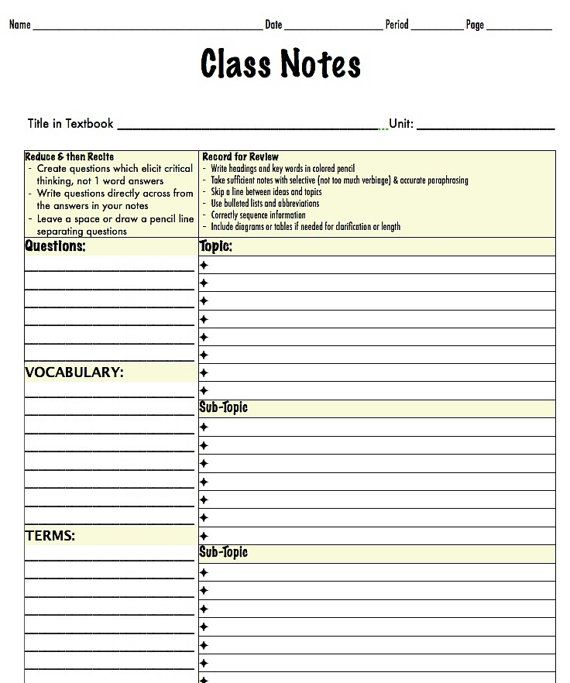 Note Taking Template Middle  Highschool By Tutortimewespines