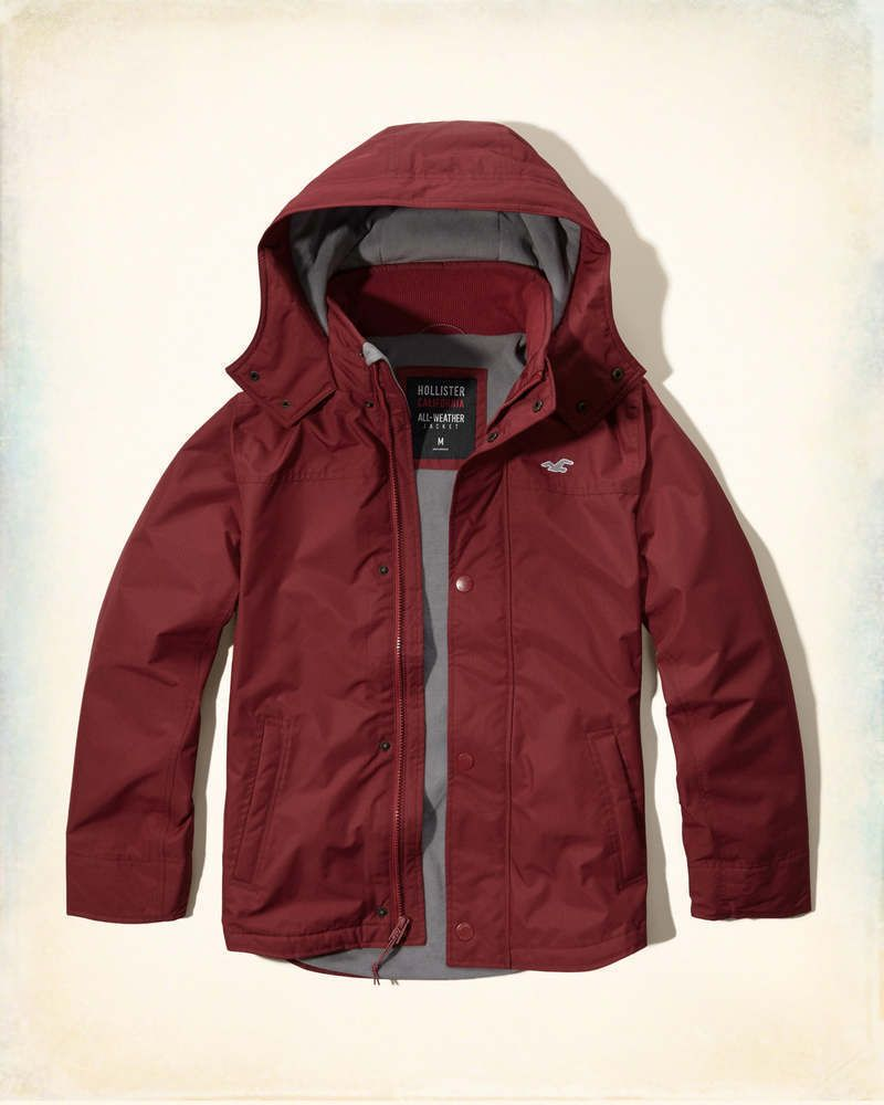 Hollister All Weather Fleece Lined Men's Jacket Coat Deep Red ...