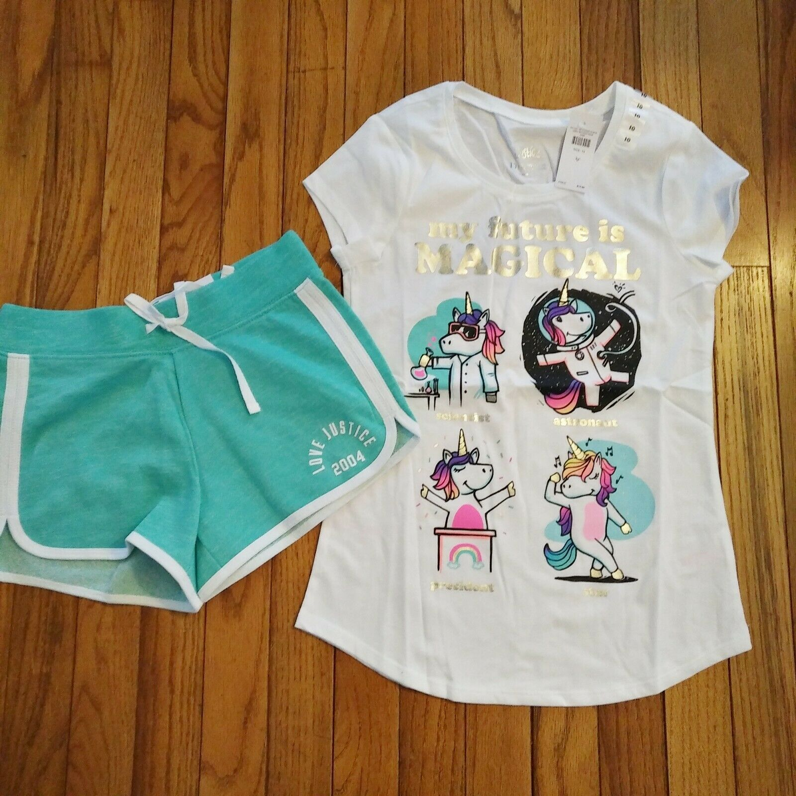 NWT Justice Girls Justice Top//Dolphin Shorts Size 6 7 8 10 12 14 16