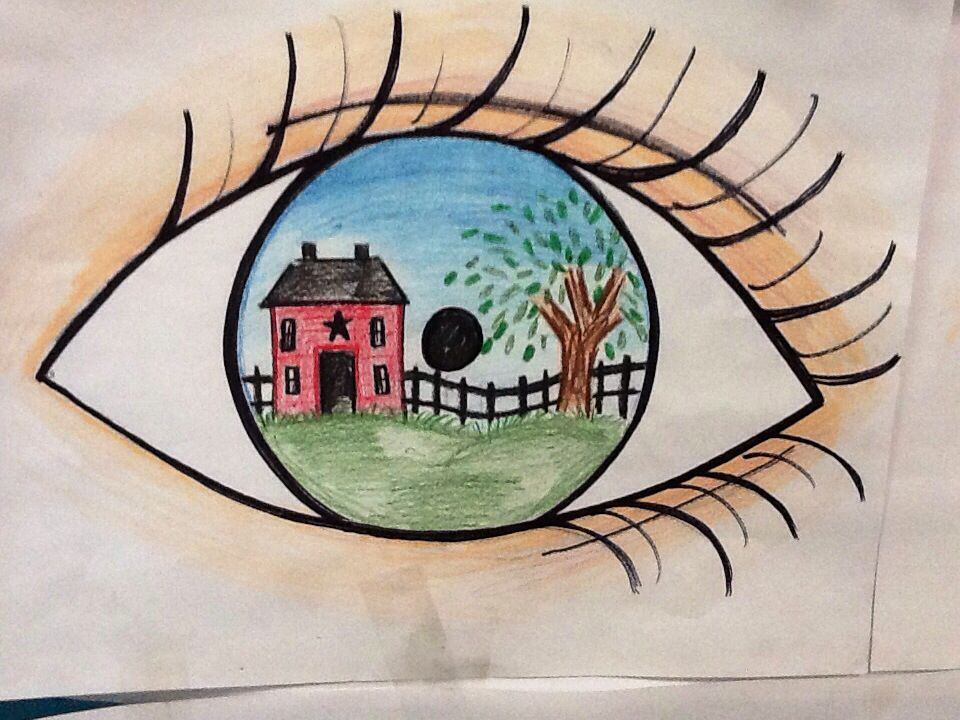 i drew this eye reflection using sharpies color pencils and crayons