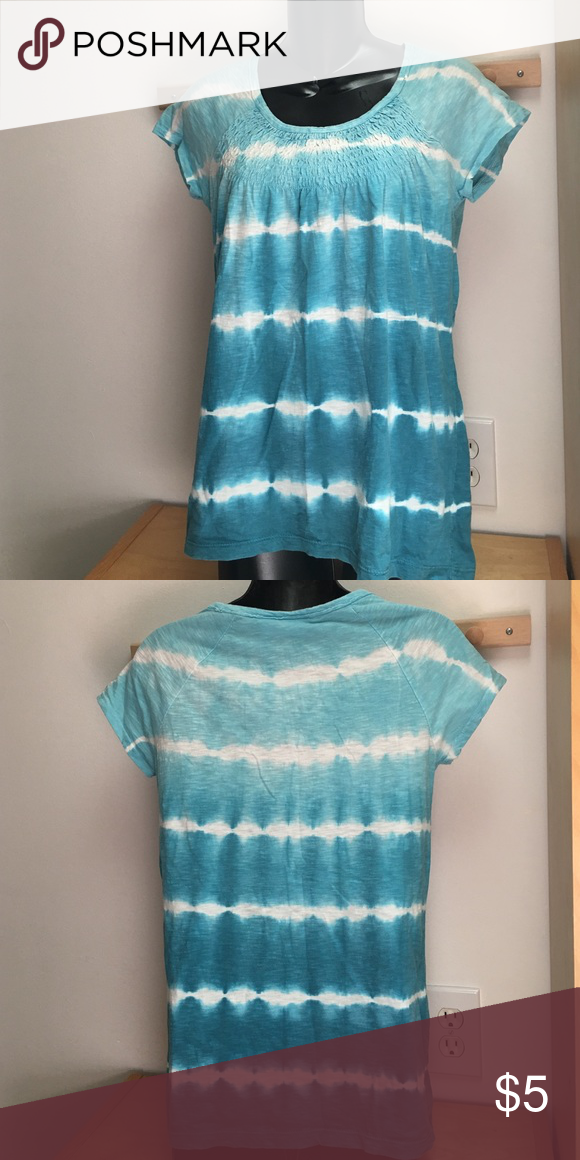 Blue & white tie dye t-shirt Cute blue & white tie dye t-shirt by Chico's. No rips or stains & comes from a smoke free home. Chico's Tops Tees - Short Sleeve