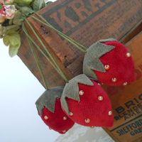 Strawberries Velvet Like Fabric Vintage