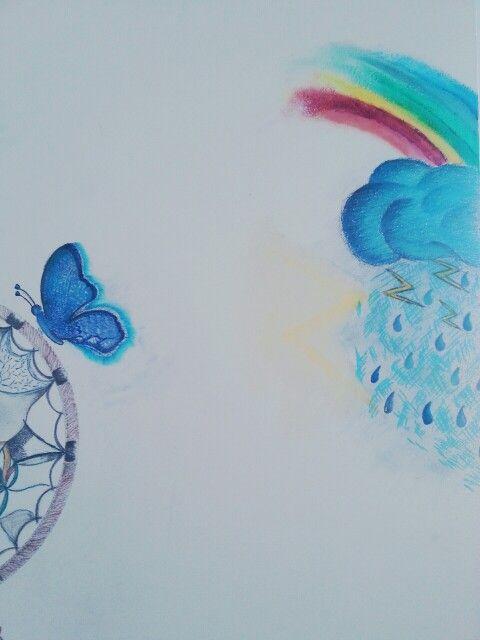 #butterfly #blue #cloud #splash #things #rainbow #drawing