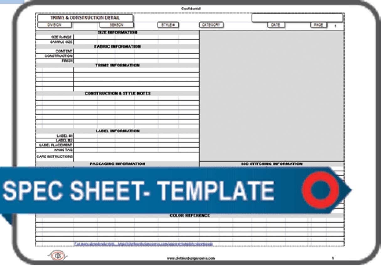 Download the Templates Documents and Forms | Apparel Spec Sheet ...