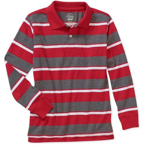 9d0ed388d06d7 Faded Glory Boys  Long Sleeve Stripe Polo Shirt  Boys   Walmart.com ...