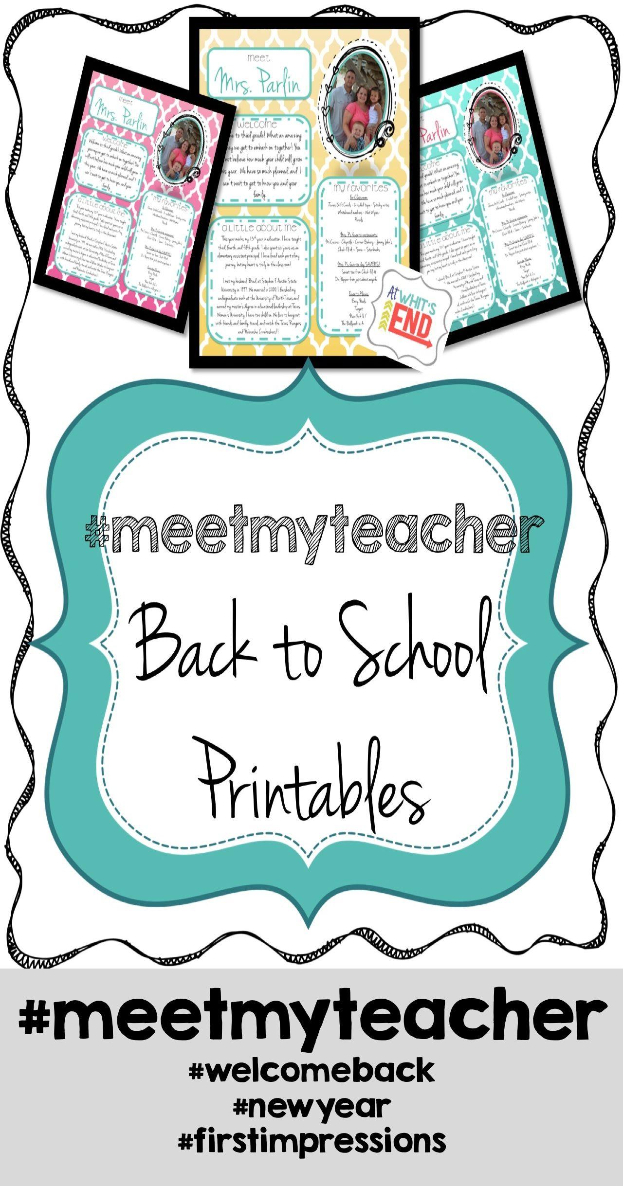Meet My Teacher All About The Teacher Back To School Printables
