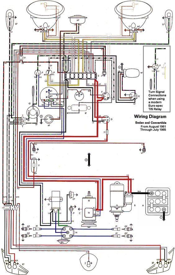 Wiring Diagram Vw Beetle Sedan And Convertible 1961 1965 Vw Super Beetle Electrical Wiring Electrical Diagram
