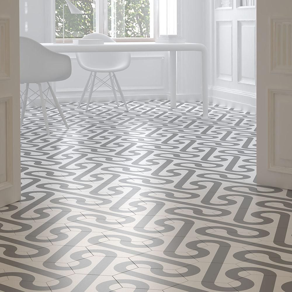 Merola Tile Roll Hex White with Taupe Grey 97/8 in. x 11