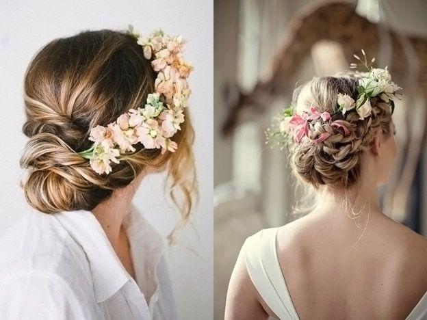 фата и цветы в волосах