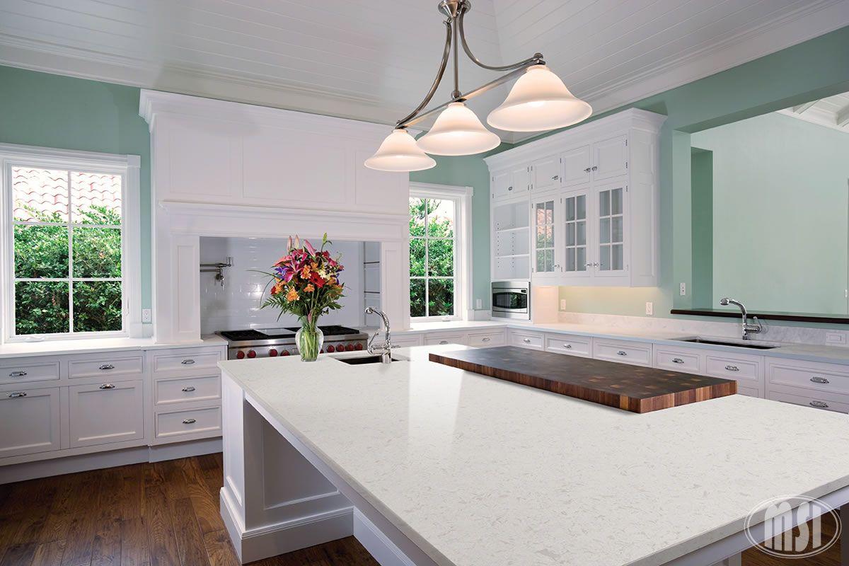 Glacier White Quartz White quartz countertop, Kitchen