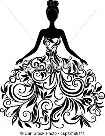 Eps Vector Of Vector Silhouette Of Young Woman In Dress Vector Csp12168141 Search Clip Art Illustrati Dress Vector Silhouette Art Elegant Wedding Dress