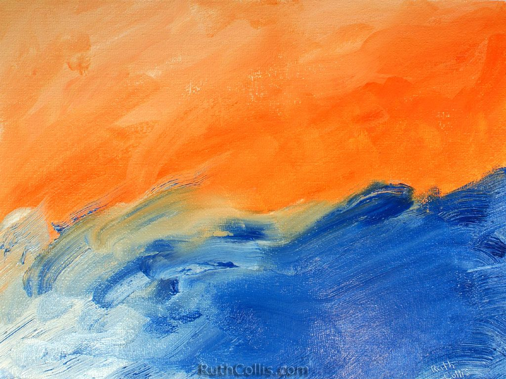 Sunset By The Sea Blue Abstract Orange Painting Orange Wallpaper