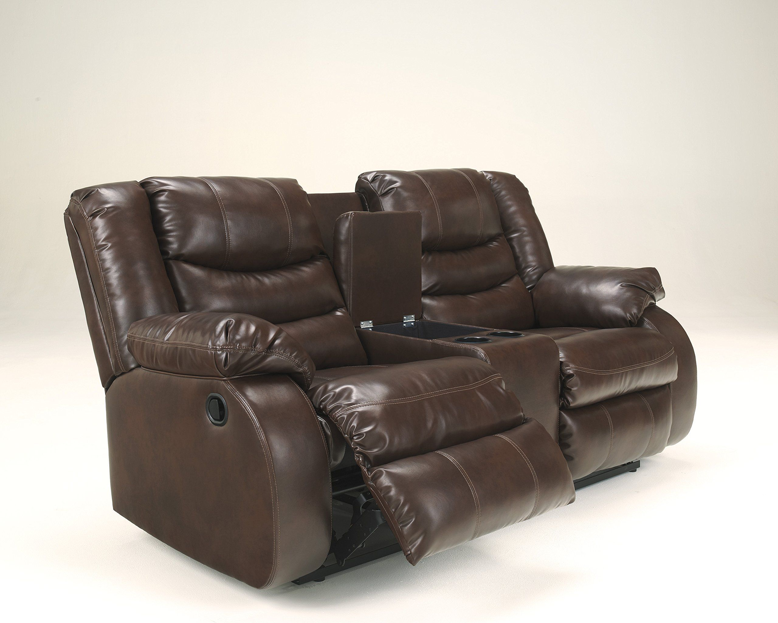 Linebacker Durablend Contemporary Espresso Color Leather Reclining Loveseat W Console Find Out More Evaluatio Love Seat Recliner Leather Reclining Loveseat