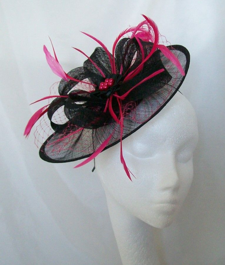 58520a378a658 Black  amp  Cerise Pink Aurora Saucer Fascinator Hat Order Now from  www.indigodaisyweddings.