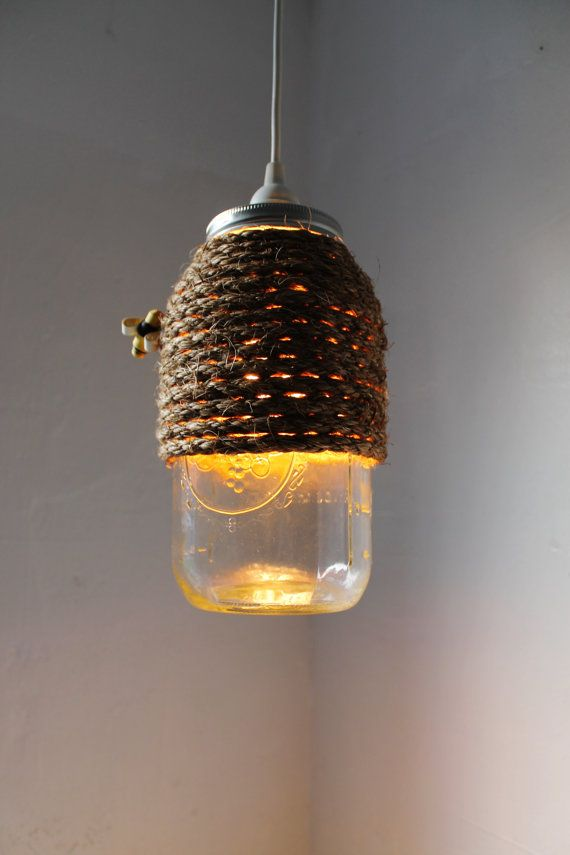 rope mason jar lights. The Hive - Half Gallon Mason Jar Pendant Light UpCycled Handcrafted BootsNGus Lighting Fixture Wrapped In Rope Design Lights