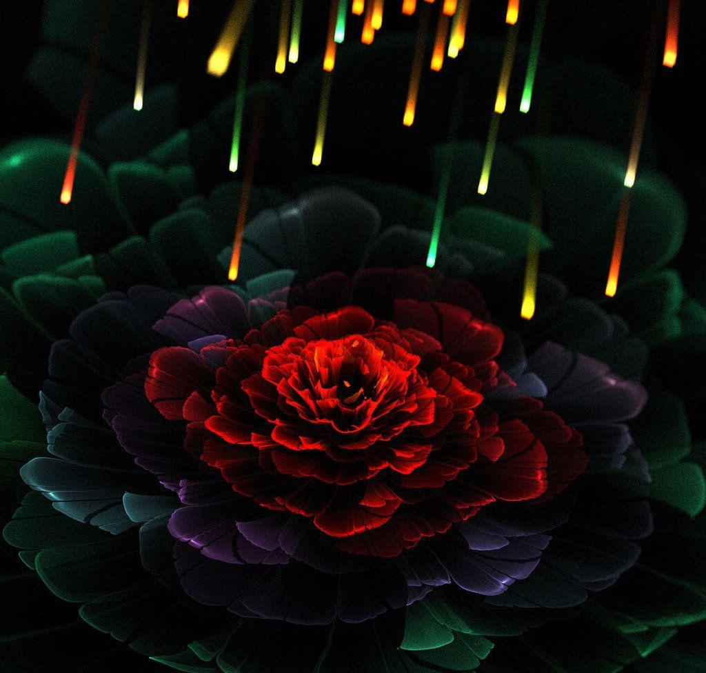 Fire And Rose By Kondratij On Deviantart Rose Fractal Art Flowers