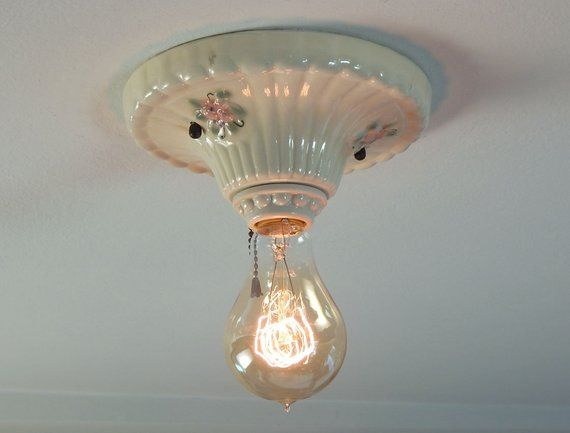 Vintage Flush Mount Porcelain Pull Chain Equipped Ceiling