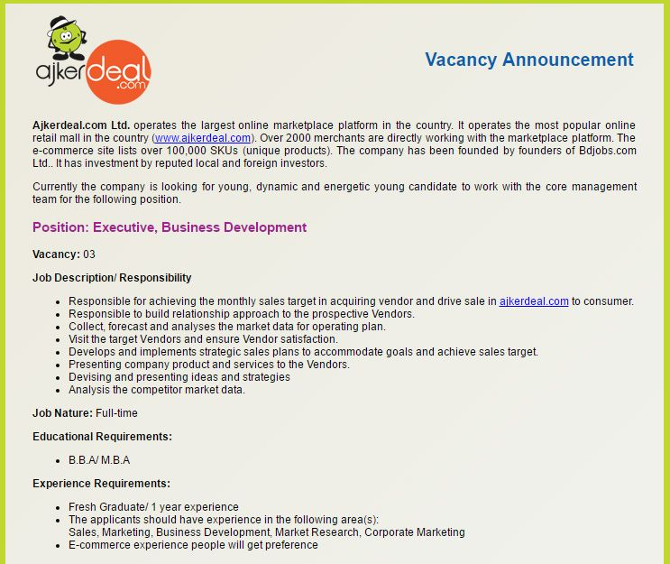 Career u2013 Ajkerdeal Ltd u2013 Position Executive, Business - sales marketing executive job description