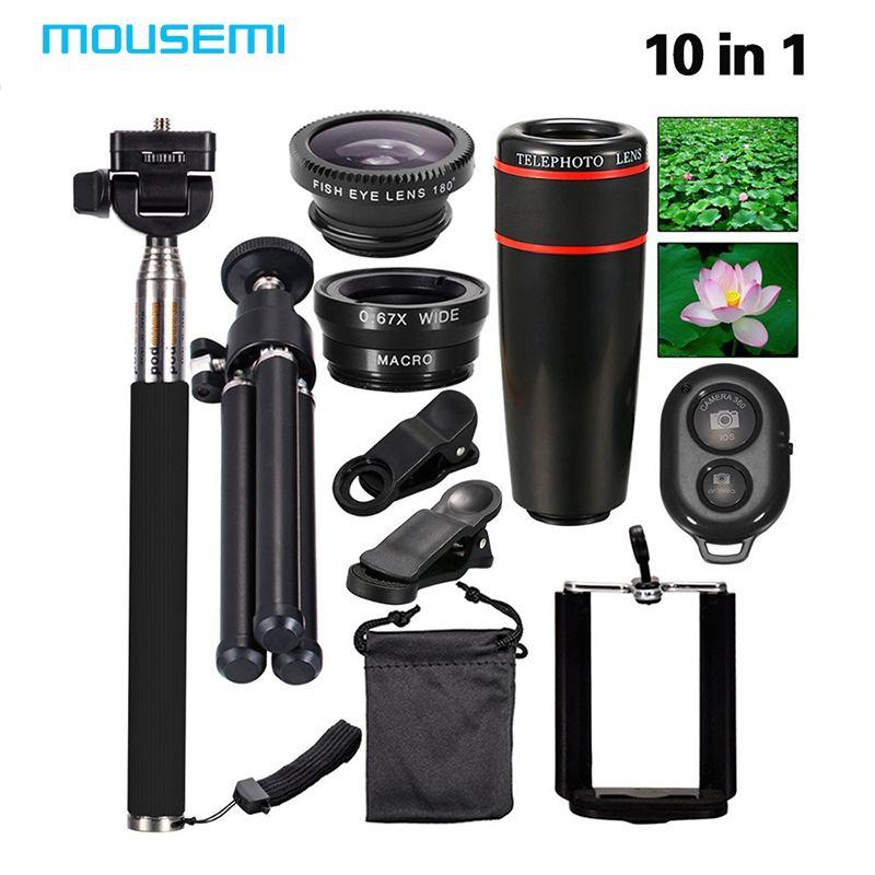 新しい10in1電話カメラレンズキット8x望遠レンズ+フィッシュアイ+広角+マクロレンズ+ selfieスティック一脚+ミニ三脚