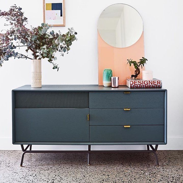 Dang 1 door 3 drawer console in marine blue by blu dot for Blu dot media console