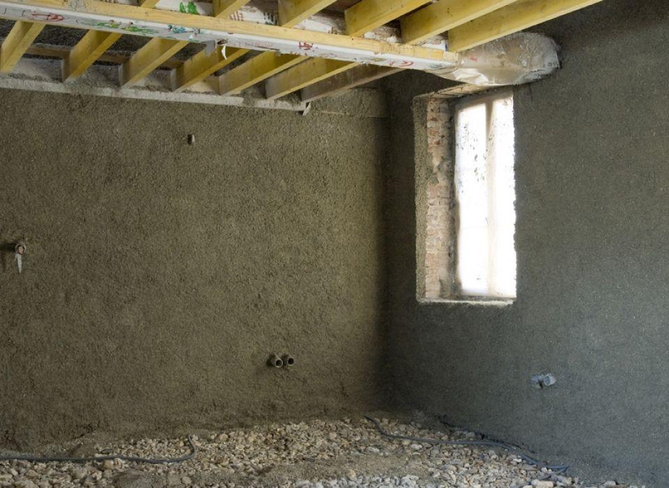 Isolation des murs par projection de béton de chanvre CHEVRIN-GELI - assainissement d une maison