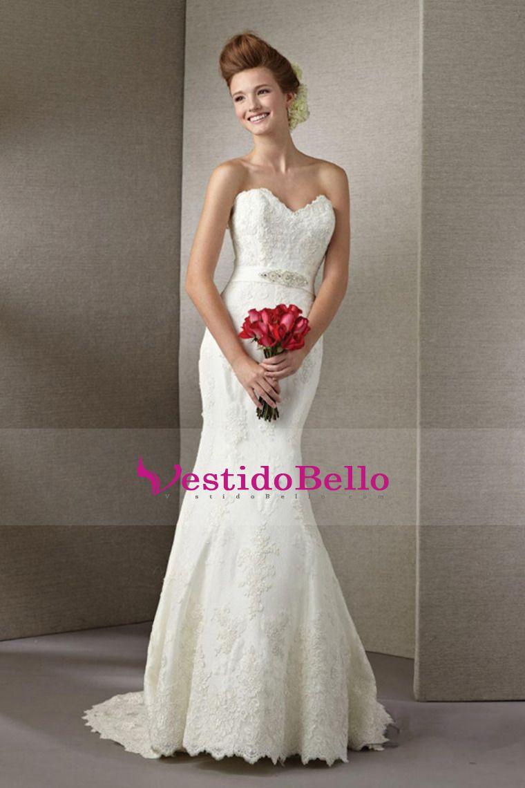 2014 de la boda vestido de novia vaina / columna con apliques Sash Y ...