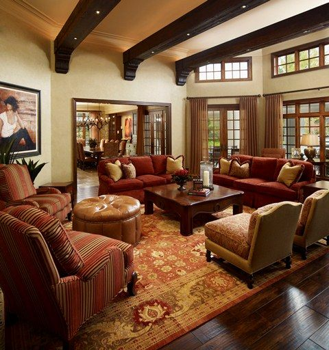 Tuscan Inspired Living Room: This Living Room Resembles A Tuscan Style Design. The