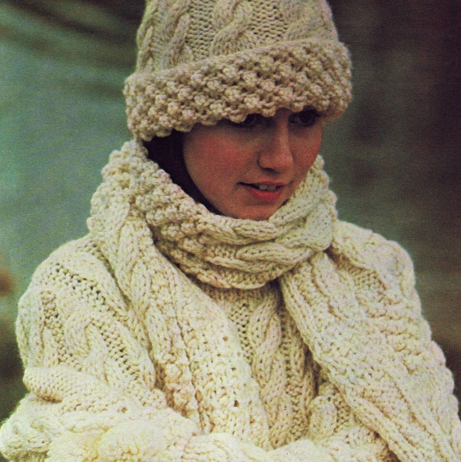 Free Aran Knitting Pattern : INSTANT DOWNLOAD PDF Vintage Knitting Pattern Aran Sweater Hat Scarf and Glov...