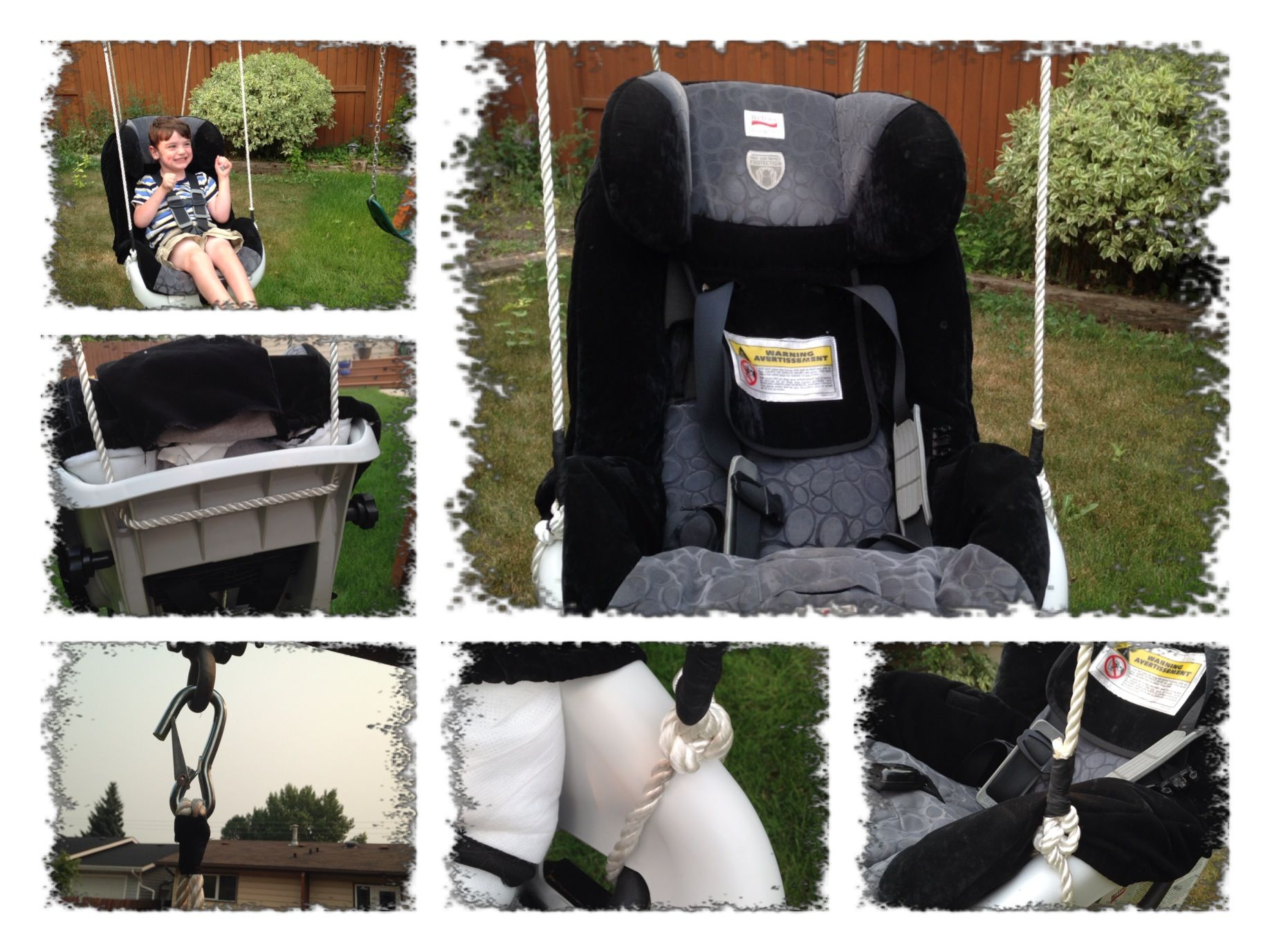Change an expired car seat into a swing! It works awesome for our son with Spastic Cerebral Palsy!