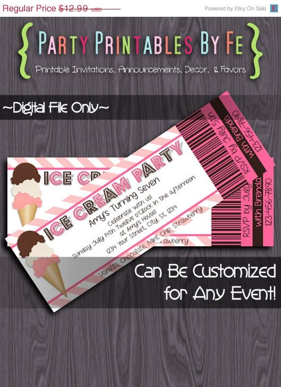 On Sale Printable Birthday Party Ticket Invitation  Ice Cream